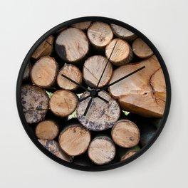 Pine wood logs Wall Clock