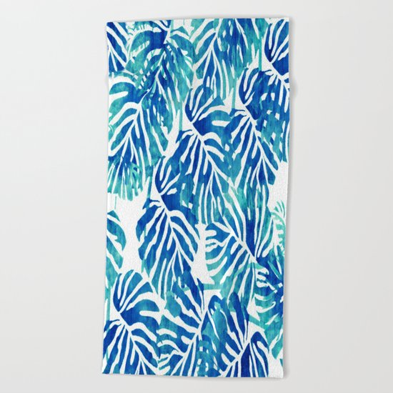 Tropical Leaves – Blue Abstract Beach Towel
