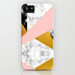 Golden foil and marble iPhone Case