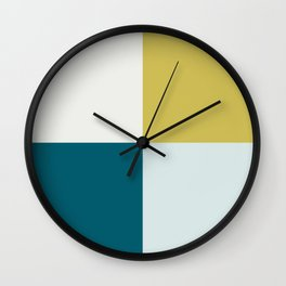Minimal Geometric Shape Pattern Dark Teal, Pale Blue, Golden Yellow and Off- White Inspired by Sherwin Williams 2020 Trending Color Oceanside SW6496 Wall Clock