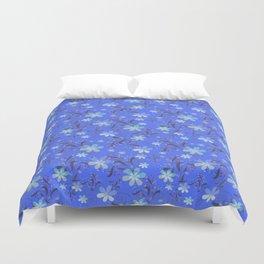 Blue retro flower Duvet Cover