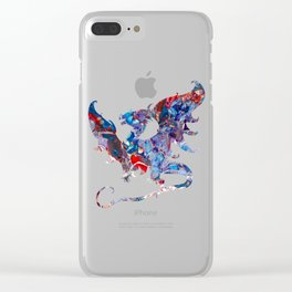 Colorful Bold Acrylic Abstract Art Dragon - Blue, Purple, Red Clear iPhone Case