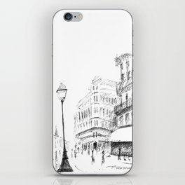 Sketch of a Street in Paris iPhone Skin