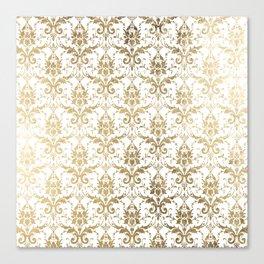 Elegant vintage white faux gold floral boutique damask Canvas Print