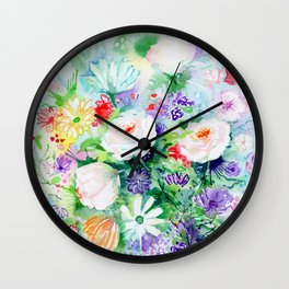"Watercolor Painting ""Good Mood Flowers Wall Clock"