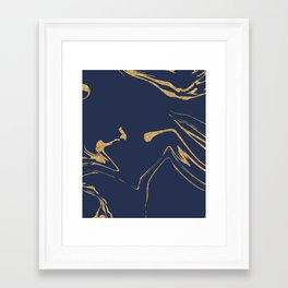 Blue And Gold Liquid Paint Framed Art Print