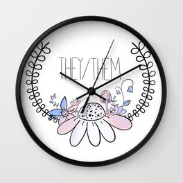 Pretty Pronouns: They/Them Wall Clock