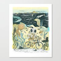 cycling Canvas Prints featuring Cycling in the Deep by Dushan Milic