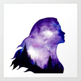 Glowing Sky Forest Girl Double Exposure Art Print