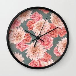 Roses&Dahlias pattern Wall Clock