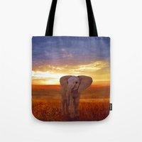 baby elephant Tote Bags featuring  Elephant baby by valzart