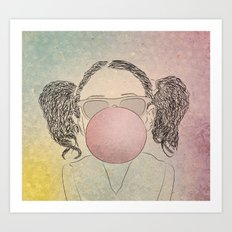 girl with a gum Art Print