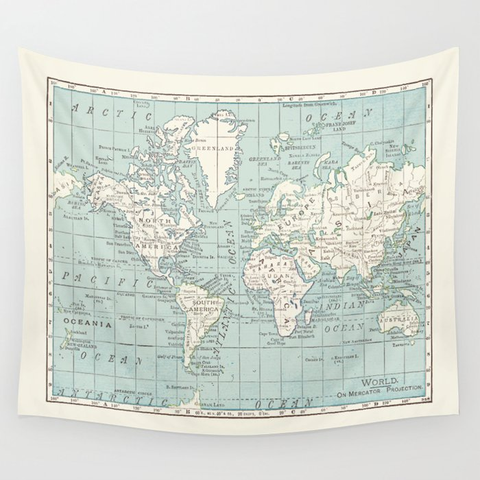 World Map in Blue and Cream Wandbehang