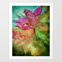 Abtract leaves and flower Art Print