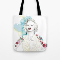 marylin monroe Tote Bags featuring Marylin Monroe  by sarah rie