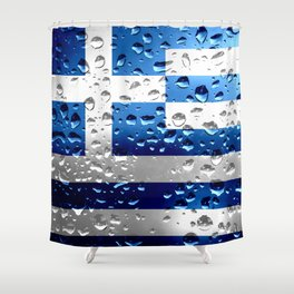 Flag of Greece - Raindrops Shower Curtain