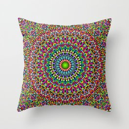 Happy Garden Mandala Throw Pillow
