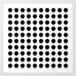 Black Polka Ball Pattern Art Print