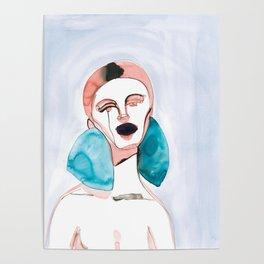 Red Hair, Blue Earrings, Black Lips Poster
