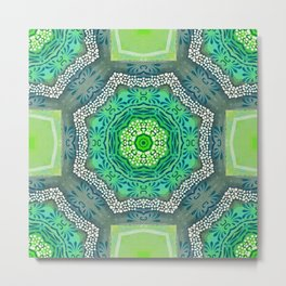 Octagon Kaleidoscope Flower in Green Turquoise and Gray Metal Print