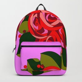 A Bouquet of Big Flowers with Pink Background Backpack