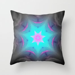 Blue Pink Lavender Starburst Throw Pillow