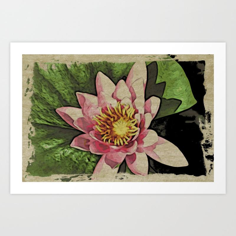 Lotus Flower Woodblock Style Art Print By Eveystudios Society6