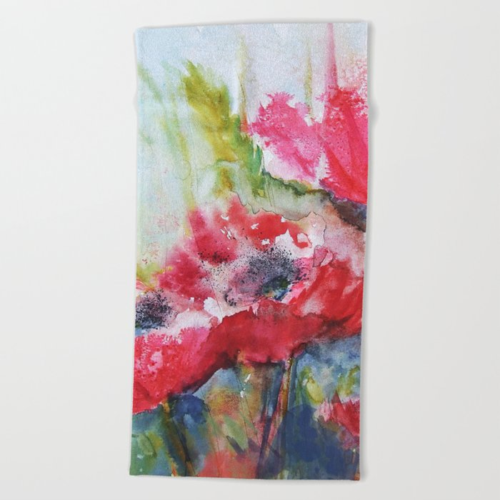 Poppies 06 Beach Towel