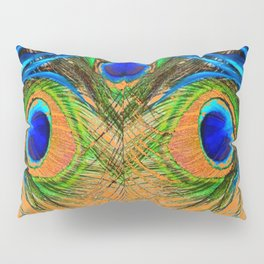 ORANGE BLUE-GREEN PEACOCK FEATHERS ART Pillow Sham