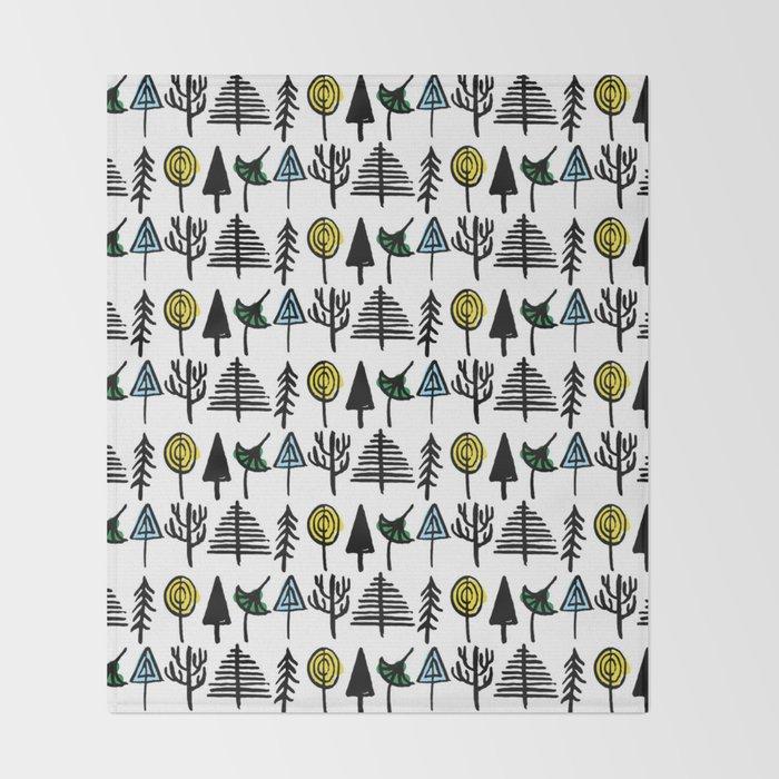 Hand drawn tree pattern Throw Blanket
