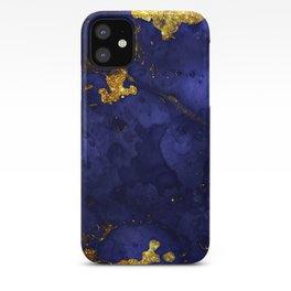 Gold Blue Indigo Malachite Marble iPhone Case