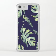 Monstera Pattern Blue #society6 Clear iPhone Case