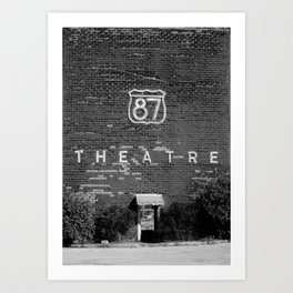 Drive in Movie Theater Black and White Art Print