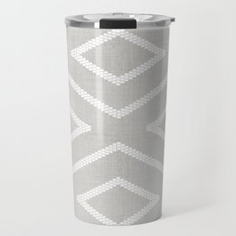 Stitch Diamond Tribal Print in Grey Travel Mug