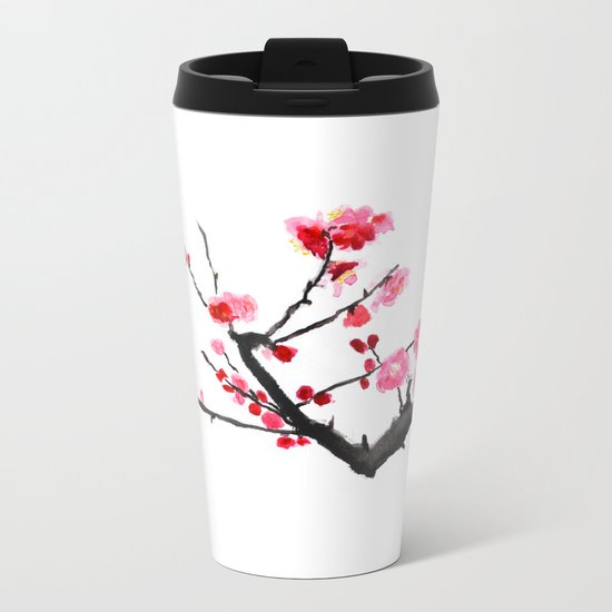 red plum flower Metal Travel Mug
