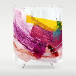 Pink Lemonade [2]: a minimal, colorful abstract mixed media with bold strokes of pinks, and yellow Shower Curtain