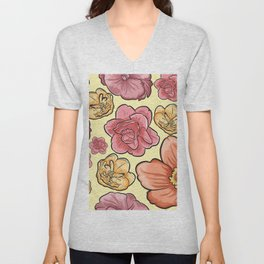 Pink coral yellow hand painted floral Unisex V-Neck