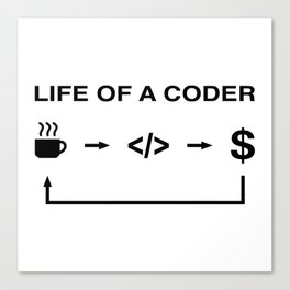 Life of a coder Canvas Print