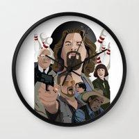 big lebowski Wall Clocks featuring The Big Lebowski by Chad Trutt