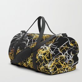 psychedelic sketching line pattern abstract in yellow black and white Duffle Bag