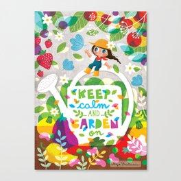 Keep Calm Ad Garden On Canvas Print