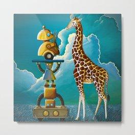 Robots on Safari Metal Print