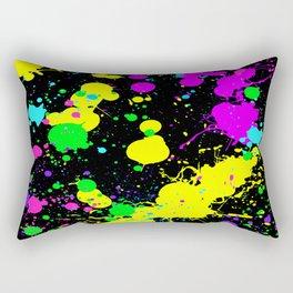 Neon Paint Splatter Rectangular Pillow