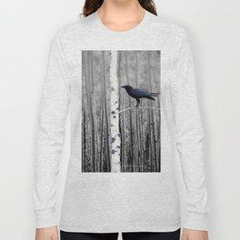 Black Bird Crow Tree Birch Forrest Black White Country Art A135 Long Sleeve T-shirt