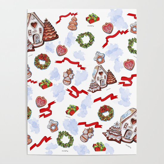 hand drawn pattern of winter decoration by ariadna-de-raadt