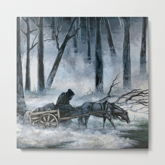 Grim Reaper with Horse in the Woods Metal Print