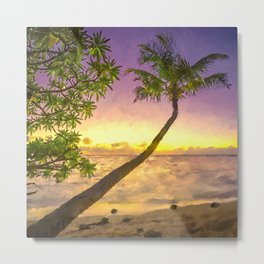 Tropical sunset beach with palms Metal Print