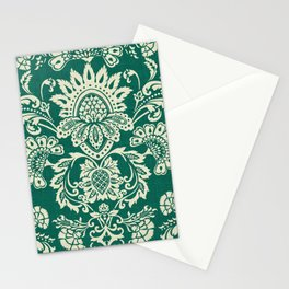 Damask vintage in green Stationery Cards