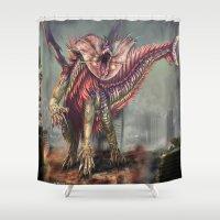 kaiju Shower Curtains featuring Fringehead Kaiju by Rushelle Kucala Art