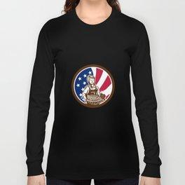 American Female Organic Farmer USA Flag Icon Long Sleeve T-shirt